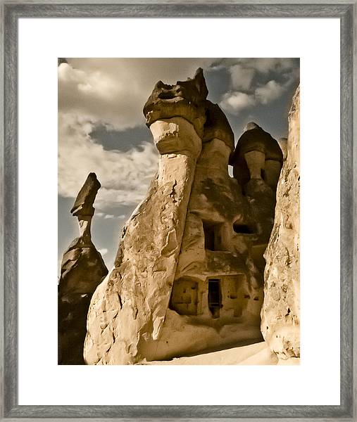 Framed Print featuring the photograph Pasabag Valley, Turkey - Dragon Rock by Mark Forte