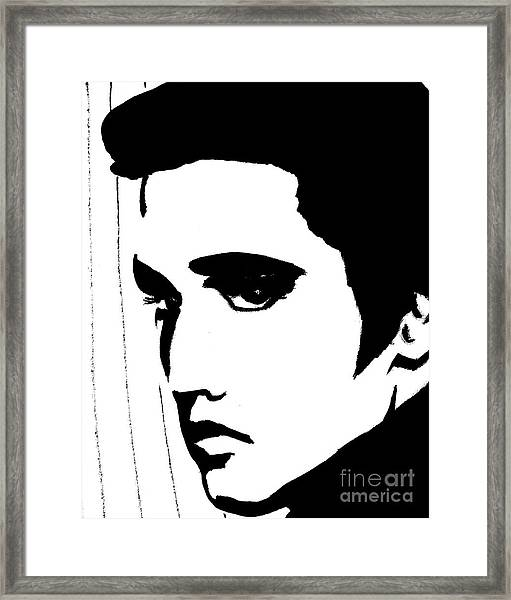 Elvis In Black And White Framed Print