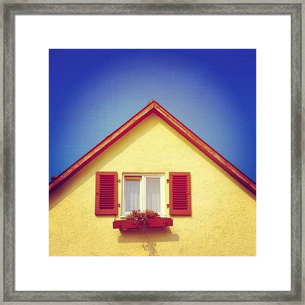 Gable Of Beautiful House In Front Of Blue Sky Framed Print