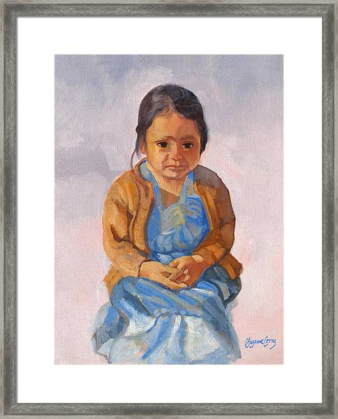 Guatemalan Girl In Blue Dress Framed Print