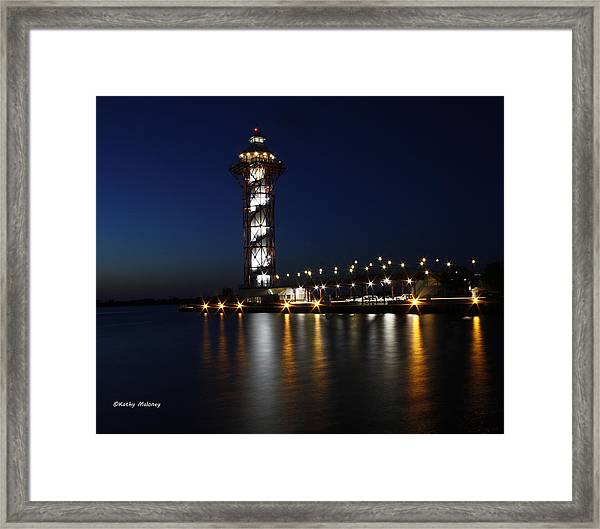 Lights On The Bay Framed Print