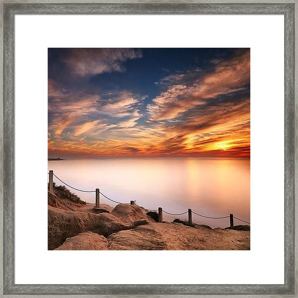 Long Exposure Of Last Night's Sunset Framed Print
