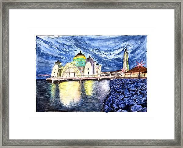 Masjid Selat Melaka Of Malaysia Framed Print