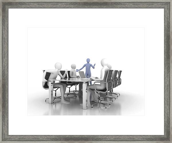 Men Meeting, Computer Artwork Framed Print