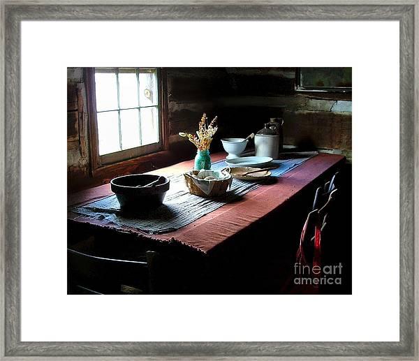 Old Cabin Table Framed Print