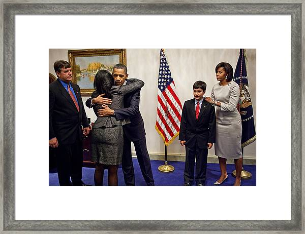 President And Michelle Obama Greet Framed Print by Everett