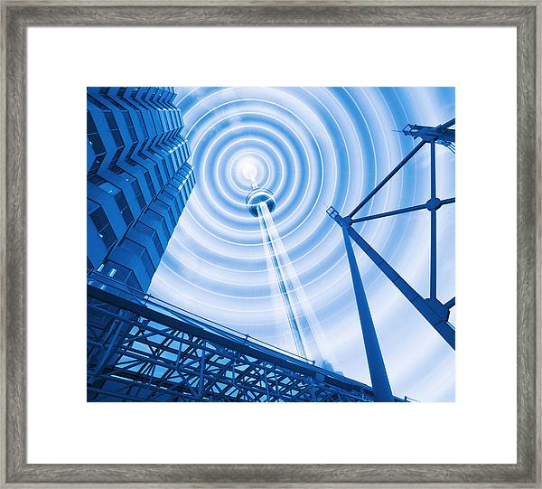 Radio Tower With Radio Waves Framed Print by Mehau Kulyk