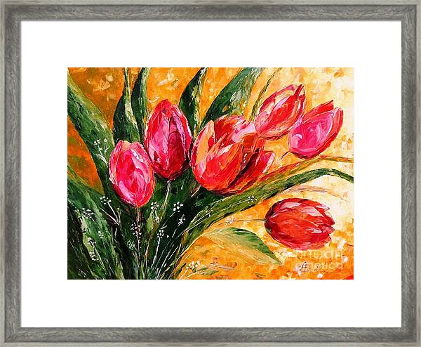 Red Tulips Framed Print by Amalia Suruceanu