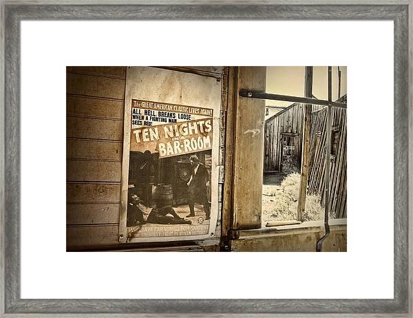 10 Nights In A Bar Room Framed Print