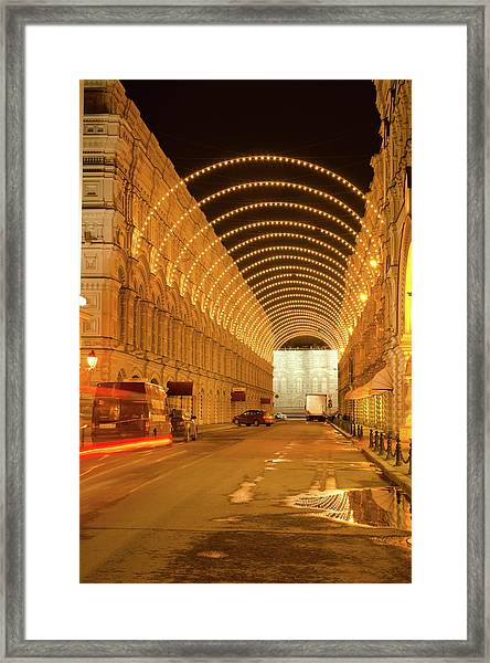 Red Square In Moscow At Night Framed Print