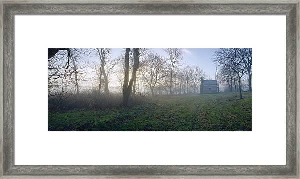 18th Century Farm In Fog Framed Print