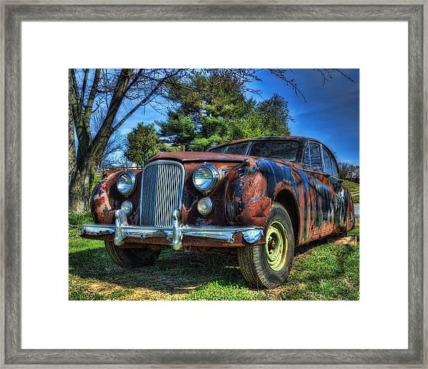 1957 Jaguar Sedan Framed Print by Steve Hurt
