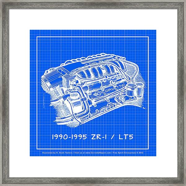 1990-1995 c4 zr-1 lt5 corvette engine reverse blueprint framed print by k