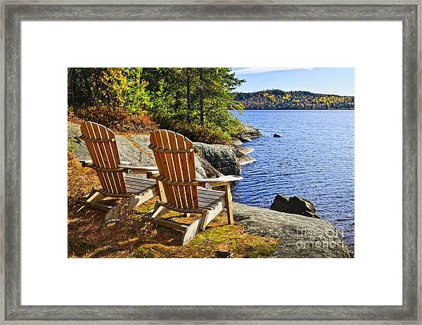 Adirondack Chairs At Lake Shore Framed Print