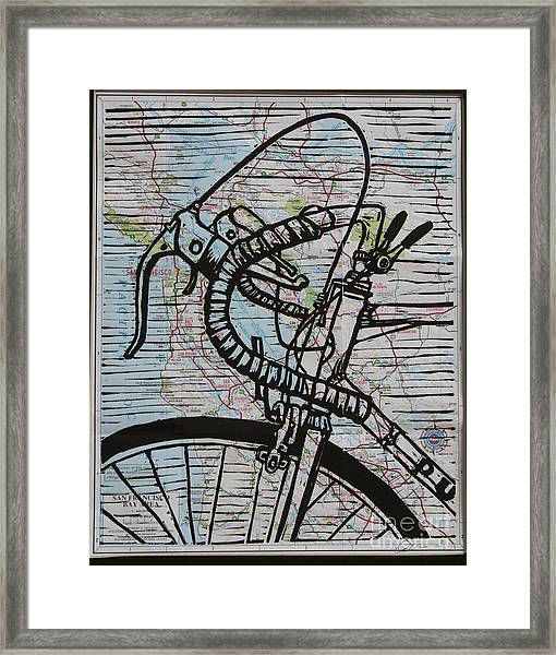 Bike 2 On Map Framed Print