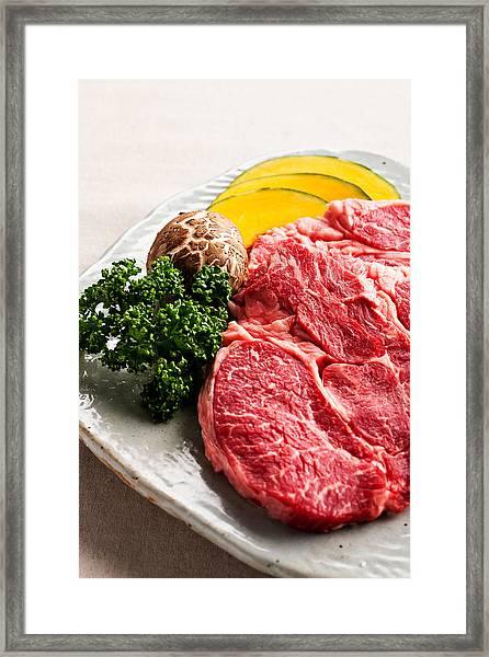 Close-up, Meat And Vegetables Framed Print