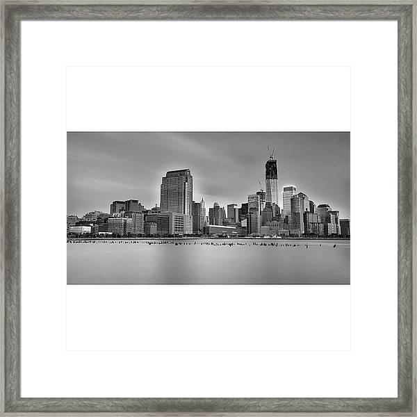 Long Exposure Panorama Of The Manhattan Framed Print