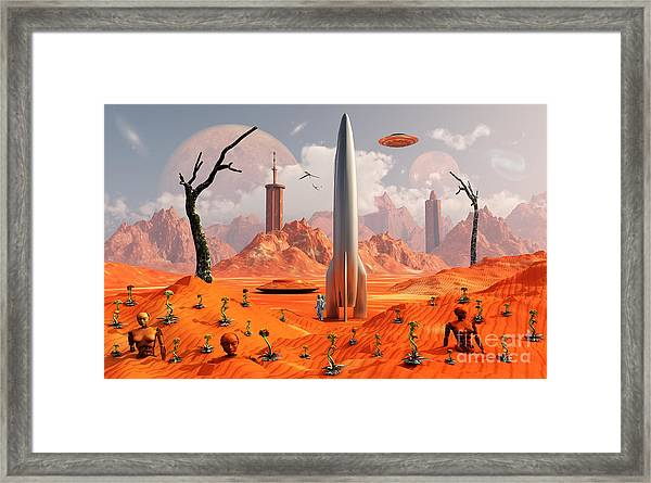 A 1950s Style Scene Showing Framed Print