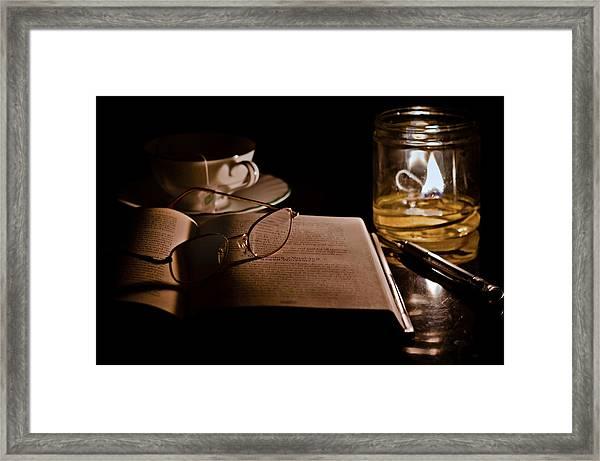 A Candlelight Scene Framed Print