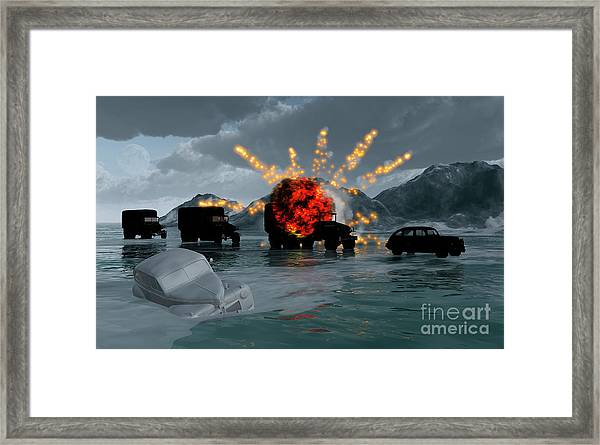 A Convoy Of Military Vehicles With One Framed Print