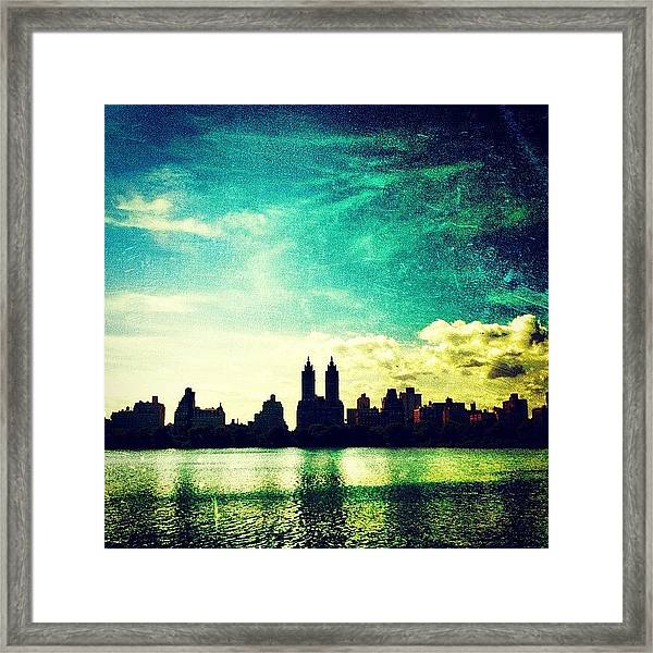 A Paintbrush Sky Over Nyc Framed Print
