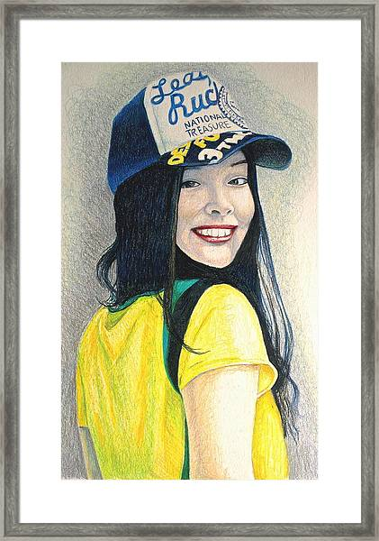 A Young Girl With A Cap Framed Print