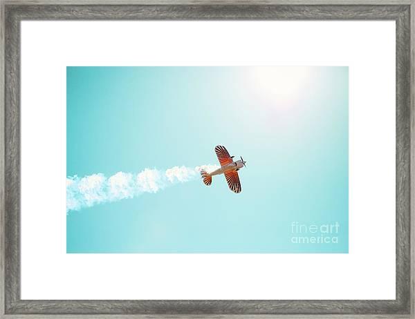 Aerobatic Biplane Inverted Framed Print