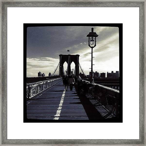 Afternoon On The Brooklyn Bridge Framed Print