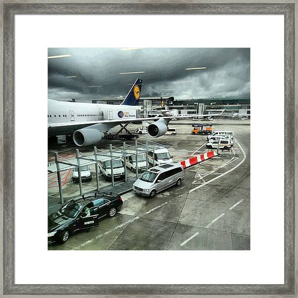 #airport #manchester #plane #car #cloudy Framed Print