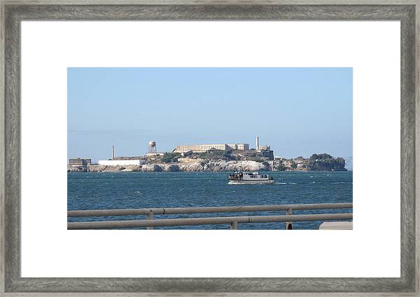 Alcatraz Island And Charter Fishing Boat Framed Print