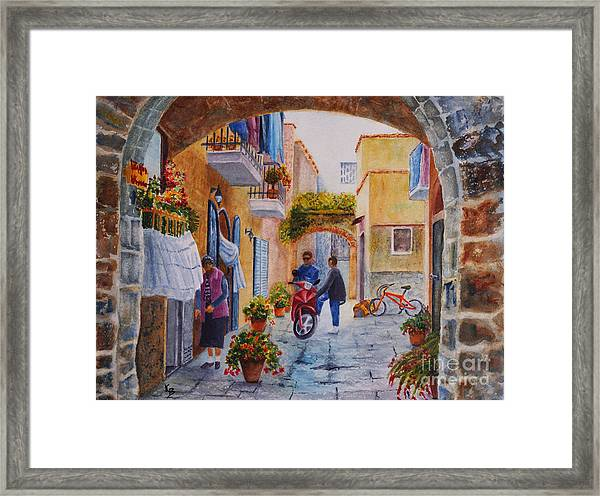 Alley Chat Framed Print