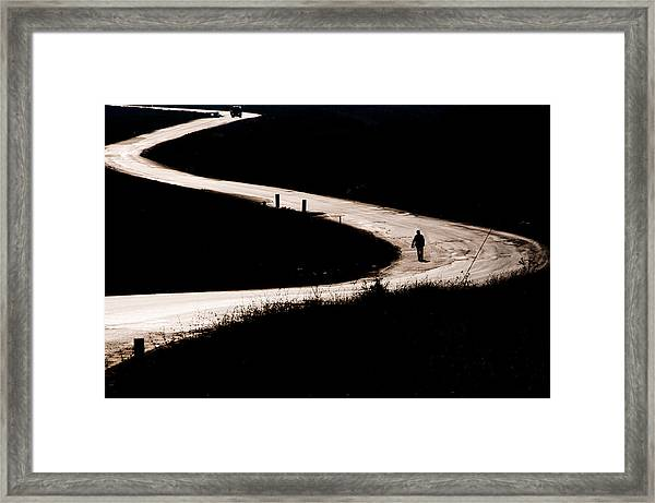 Alone On The Road Framed Print