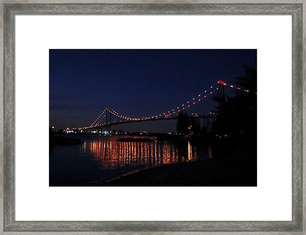 Ambassador Bridge At Night Framed Print