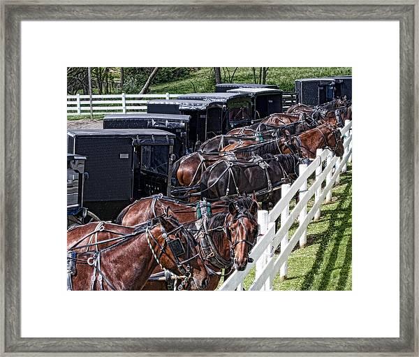 Amish Parking Lot Framed Print