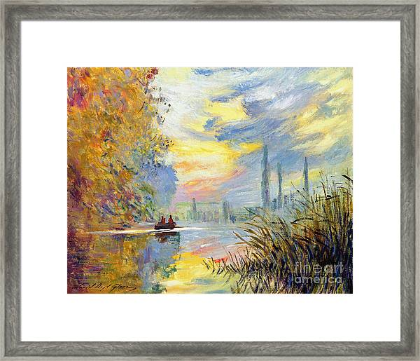 Argenteuil Evening - Sur Les Traces De Monet Framed Print