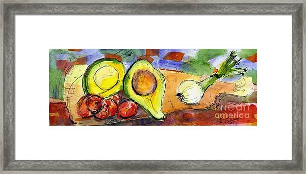 Avocado And Onions Vegetable Still Life Framed Print