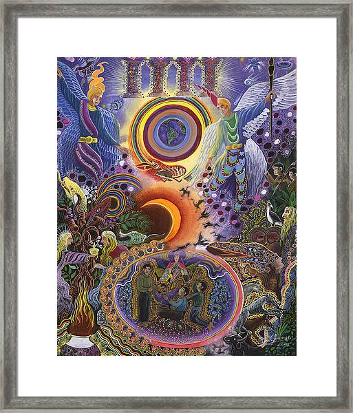 Framed Print featuring the painting Ayahuasca Raura  by Pablo Amaringo