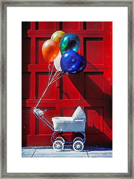 Baby Buggy With Balloons  Framed Print