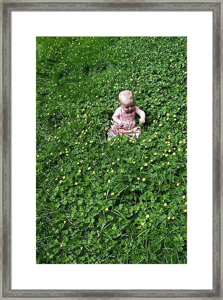 Framed Print featuring the photograph Baby In A Field Of Flowers by Lorraine Devon Wilke