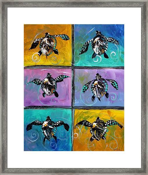 Baby Sea Turtles Six Framed Print
