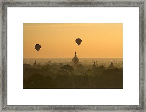 Bagan Pagodas In The Morning Framed Print