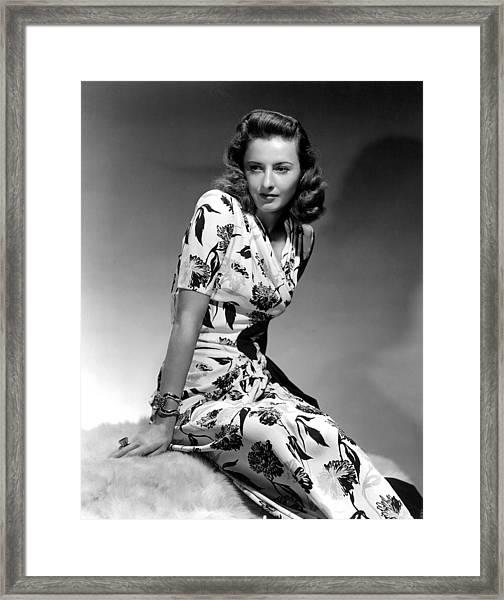 Barbara Stanwyck By Hurrell, 1940 Framed Print by Everett