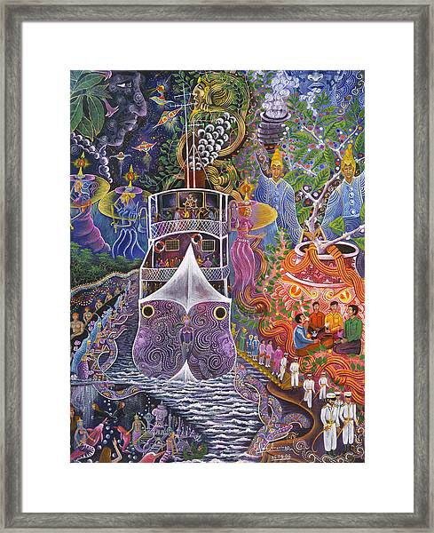Framed Print featuring the painting Barco Fantasma by Pablo Amaringo