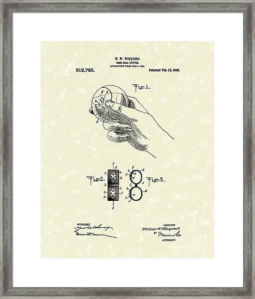 Bare Ball Curver 1909 Patent Art Framed Print