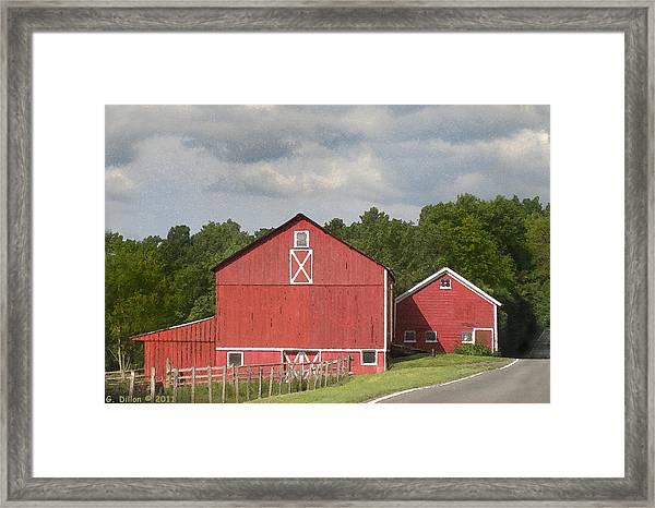 Barn Along The Way Framed Print