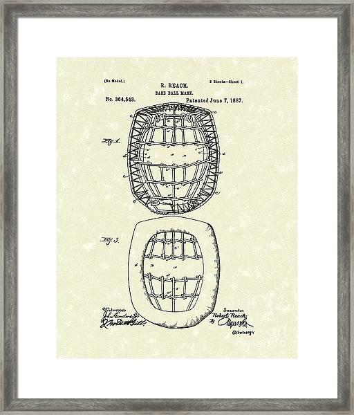 Baseball Mask 1887 Patent Art Framed Print