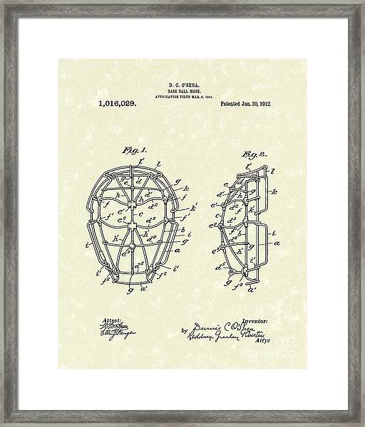 Baseball Mask 1912 Patent Art Framed Print