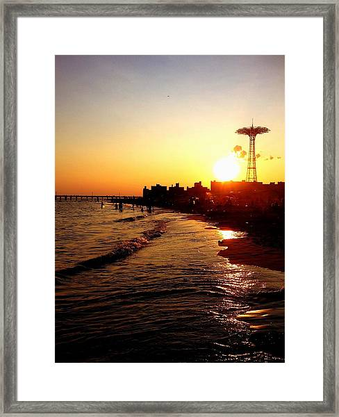 Beach Sunset - Coney Island - New York City Framed Print