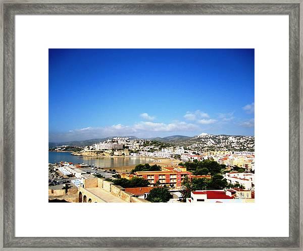 Beautiful Peniscola Beach Ocean View Homes Blue Sky In Spain Framed Print