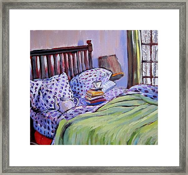 Bed And Books Framed Print